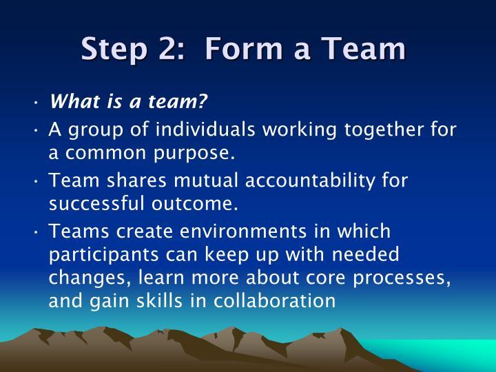 Step 2:  Form a Team
