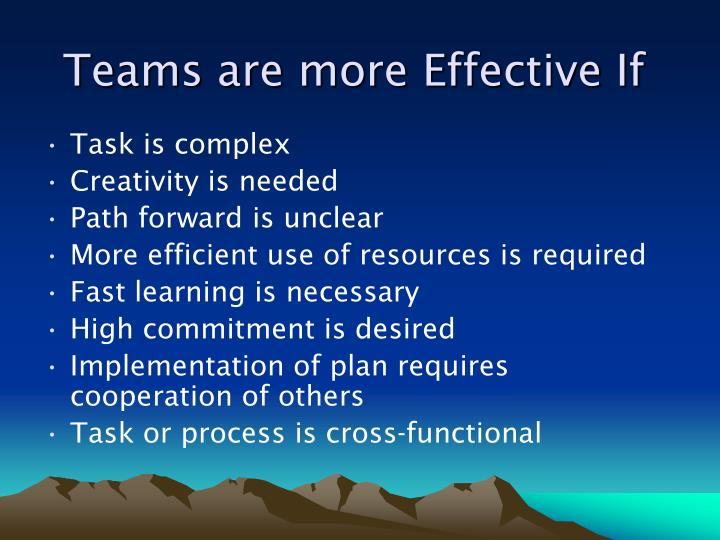 Teams are more Effective If