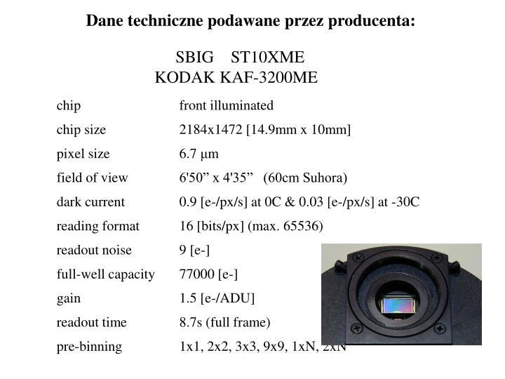 Dane techniczne podawane przez producenta:
