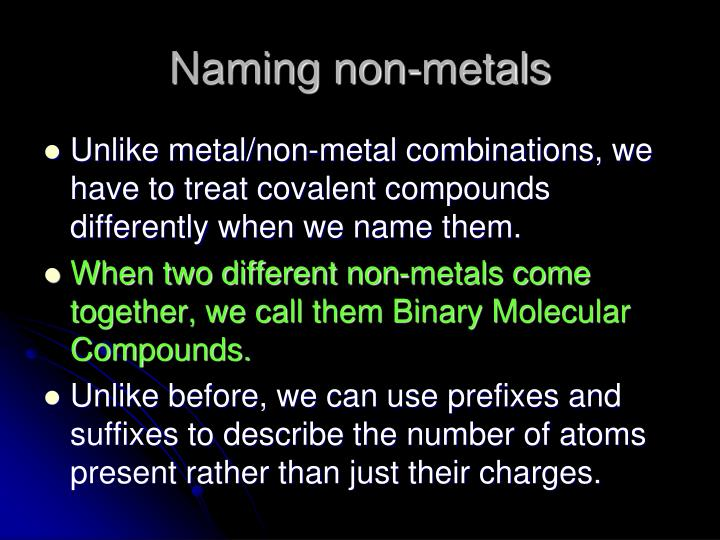 Naming non-metals