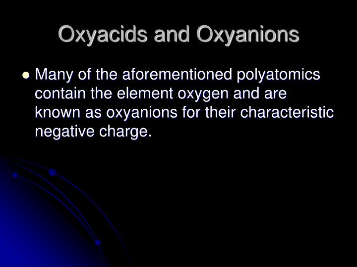 Oxyacids and Oxyanions