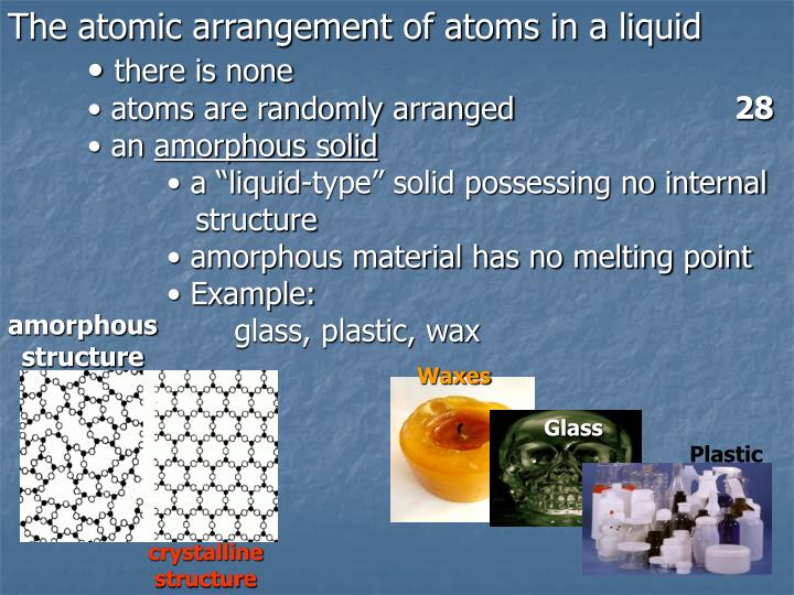 The atomic arrangement of atoms in a liquid