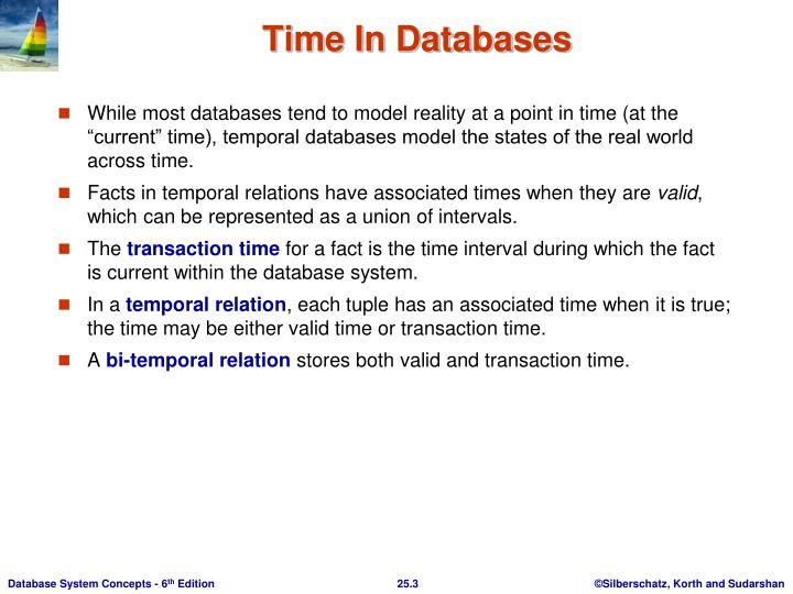 """While most databases tend to model reality at a point in time (at the """"current"""" time), temporal databases model the states of the real world across time."""