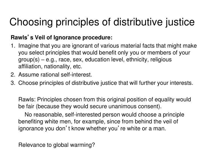 Choosing principles of distributive justice