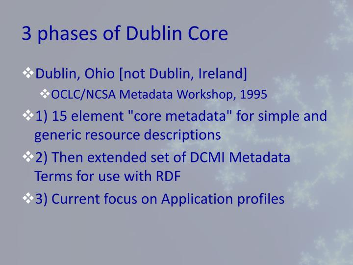 3 phases of dublin core