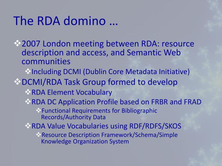The RDA domino …