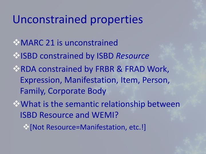 Unconstrained properties