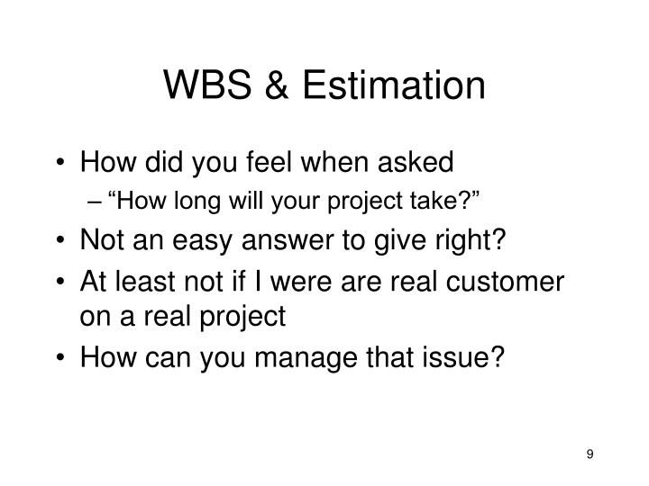 WBS & Estimation