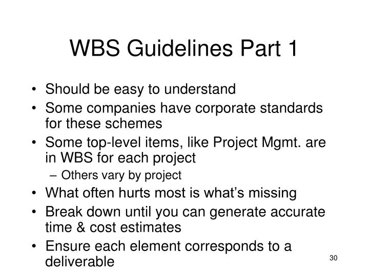 WBS Guidelines Part 1