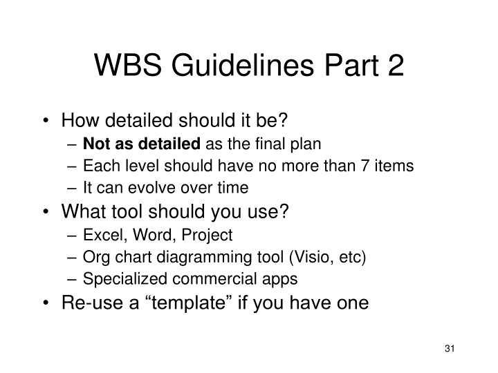 WBS Guidelines Part 2