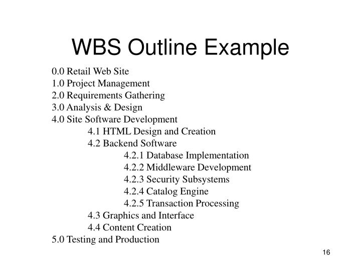 WBS Outline Example