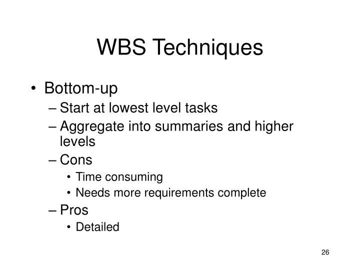 WBS Techniques