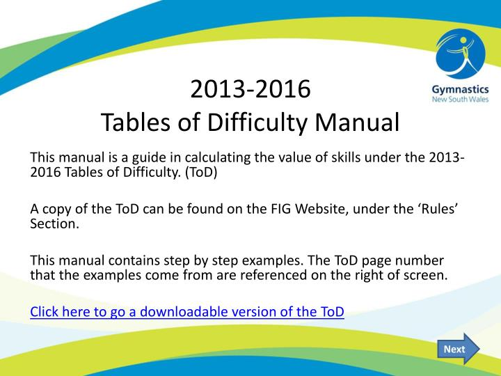 2013 2016 tables of difficulty manual