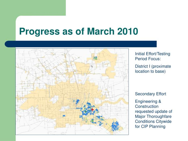 Progress as of March 2010