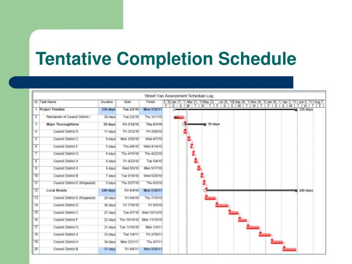 Tentative Completion Schedule