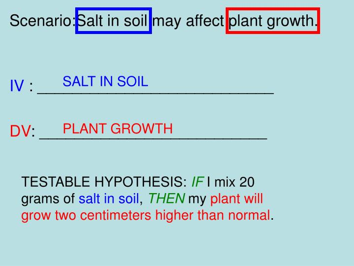 Scenario:Salt in soil may affect plant growth.