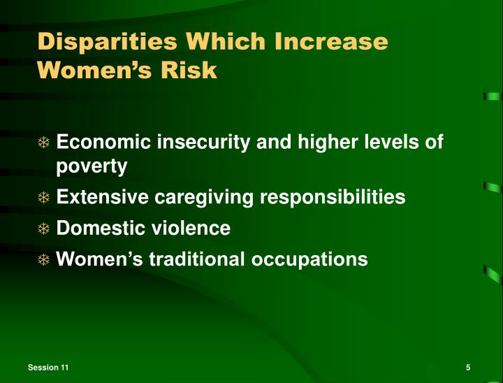 Disparities Which Increase Women's Risk
