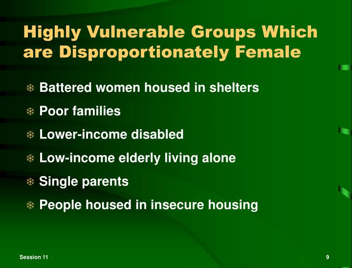 Highly Vulnerable Groups Which are Disproportionately Female