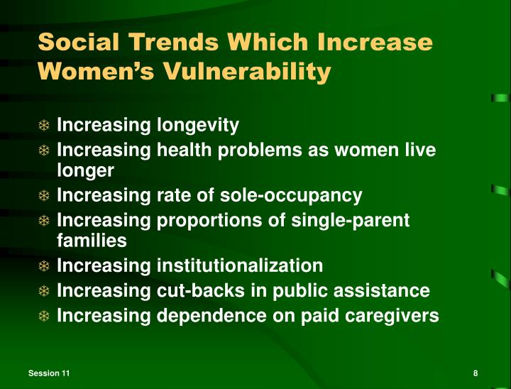 Social Trends Which Increase Women's Vulnerability