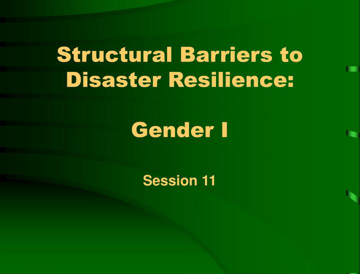 Structural barriers to disaster resilience gender i