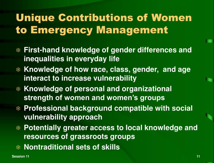 Unique Contributions of Women to Emergency Management