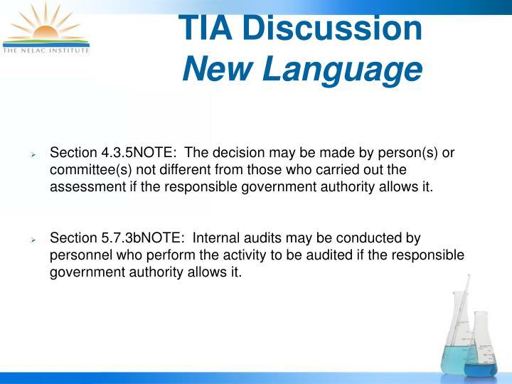 TIA Discussion