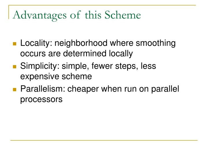Advantages of this Scheme