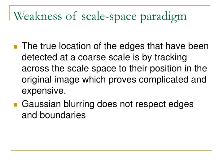 Weakness of scale-space paradigm