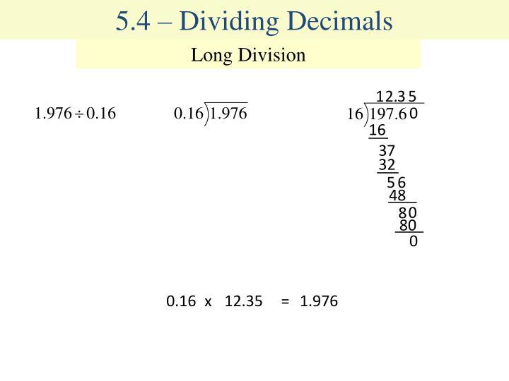 5.4 – Dividing Decimals