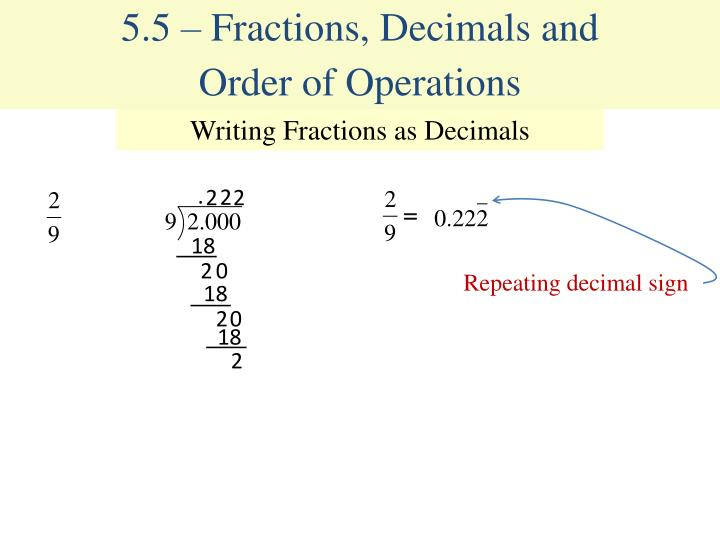 5.5 – Fractions, Decimals and