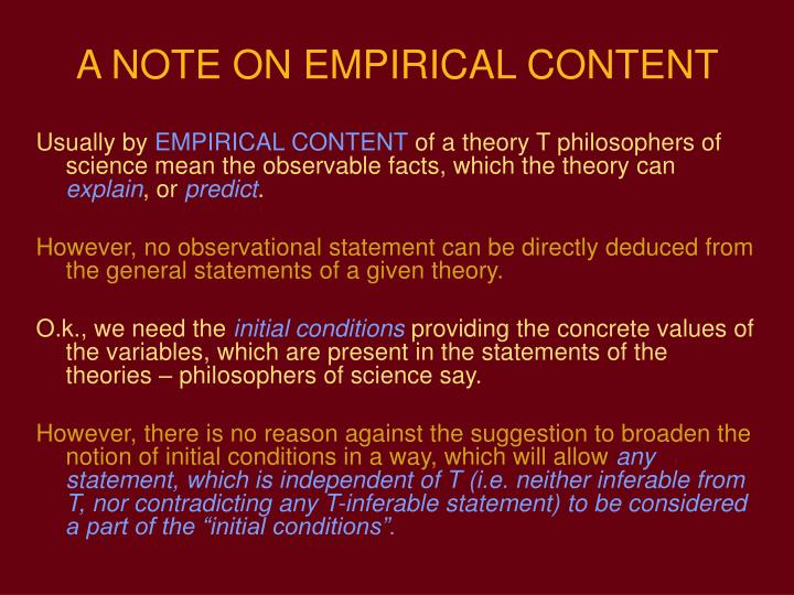 A NOTE ON EMPIRICAL CONTENT