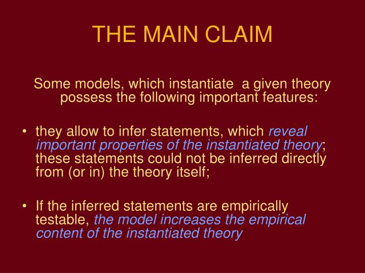THE MAIN CLAIM