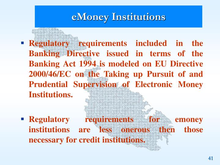 eMoney Institutions