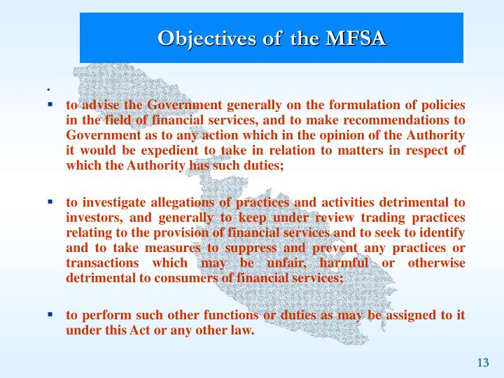 Objectives of the MFSA