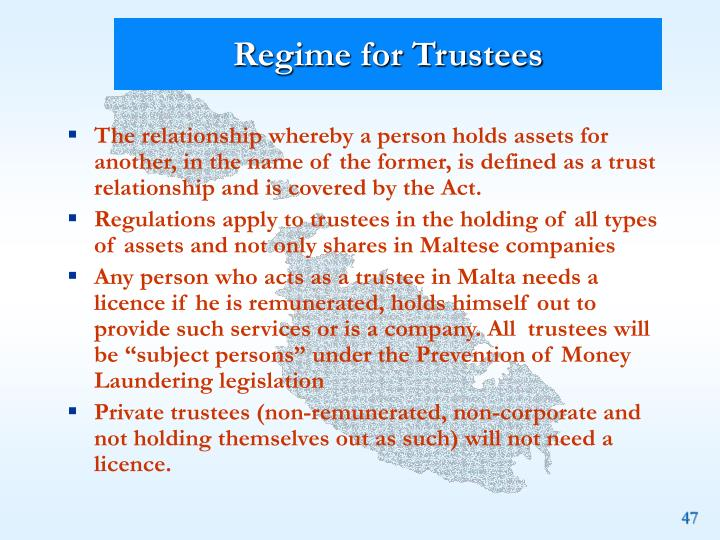 Regime for Trustees