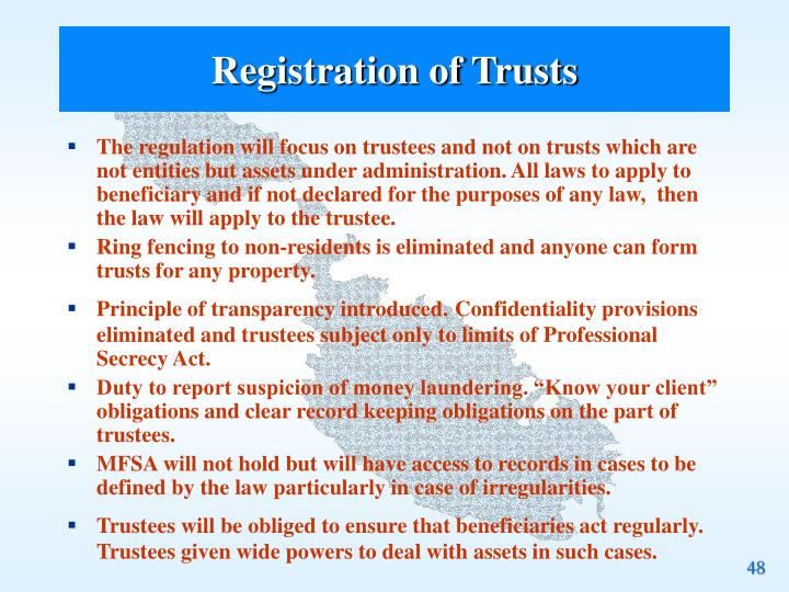 Registration of Trusts