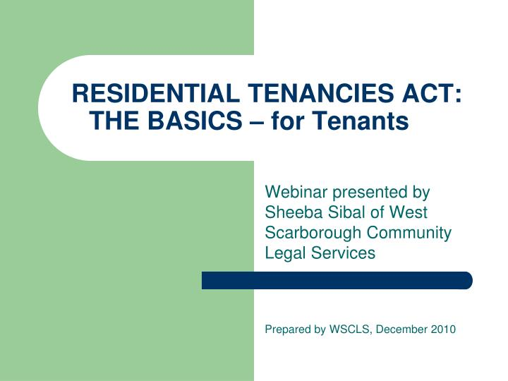 Residential tenancies act the basics for tenants