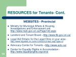 resources for tenants cont
