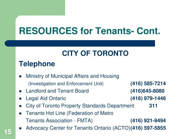 RESOURCES for Tenants- Cont.