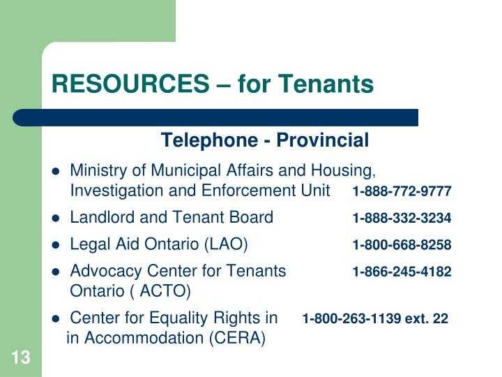 RESOURCES – for Tenants
