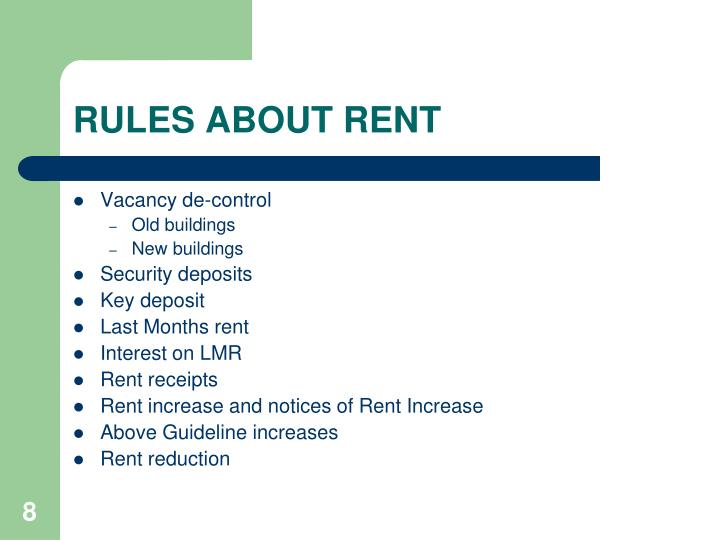 RULES ABOUT RENT