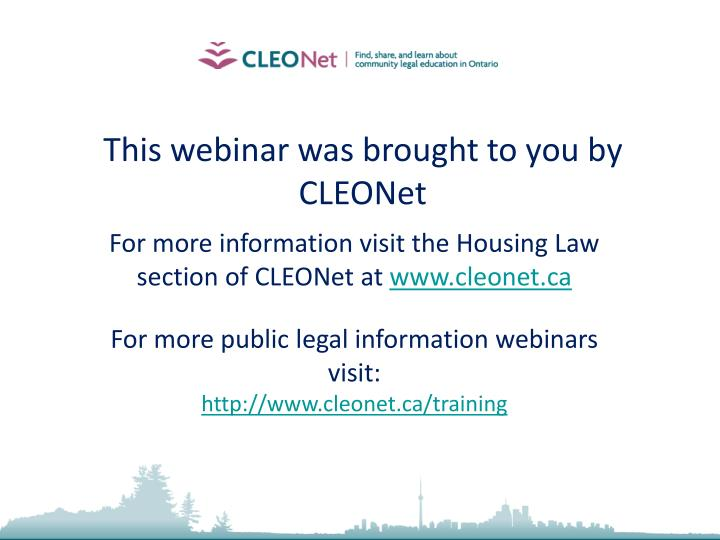 This webinar was brought to you by CLEONet