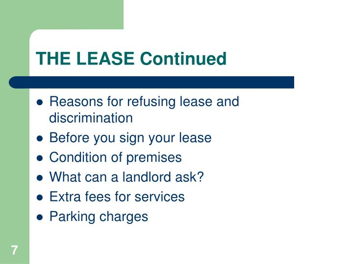 THE LEASE Continued