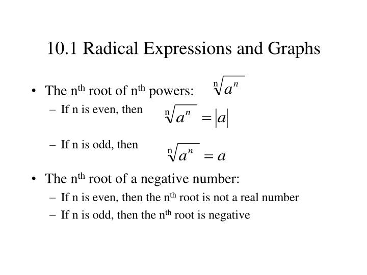 10.1 Radical Expressions and Graphs