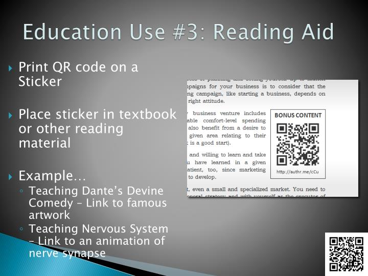 Education Use #3: Reading Aid