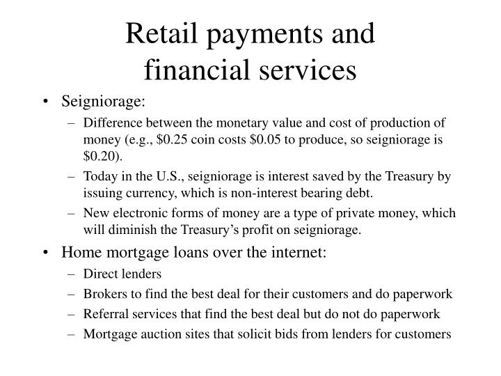 Retail payments and