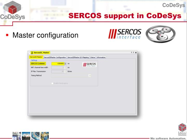 SERCOS support in CoDeSys