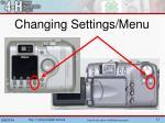 changing settings menu
