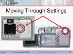 moving through settings