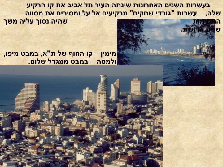 בעשרות השנים האחרונות שינתה העיר תל אביב את קו הרקיע שלה,